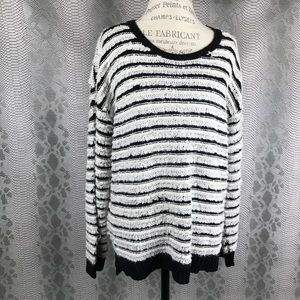 Vince white navy striped knit distressed sweater